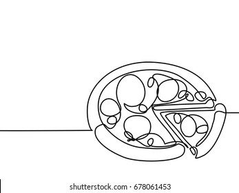 Continuous line drawing. Big pizza with slice. Vector illustration black line on white background.