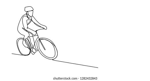 Continuous line drawing biker vector illustration. Sport theme bicycle rider.