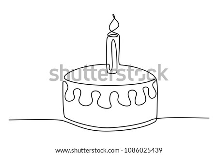 Continuous Line Drawing Birthday Cake Candle Stock Vector Royalty
