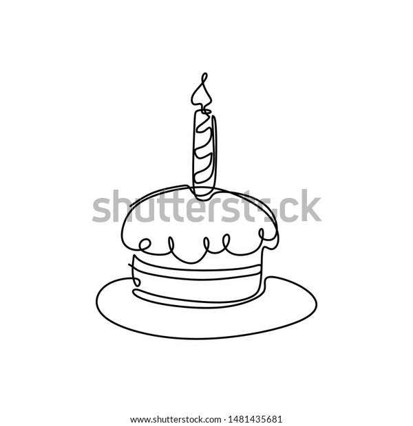 Peachy Continuous Line Drawing Birthday Cake Candle Stock Vector Royalty Funny Birthday Cards Online Alyptdamsfinfo