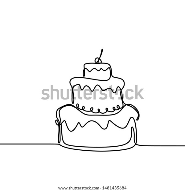 Groovy Continuous Line Drawing Birthday Cake Candle Stock Vector Royalty Personalised Birthday Cards Vishlily Jamesorg