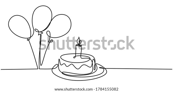 Continuous line drawing of birthday cake. A cake with sweet cream and candle. Celebration birthday party concept isolated on white background. Hand drawn vector design illustration
