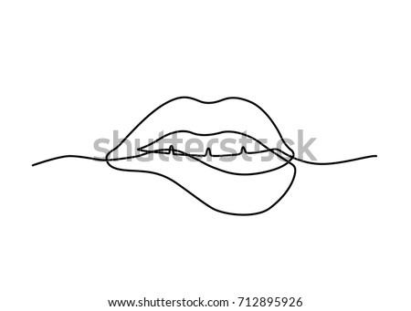 continuous line drawing biting lips on stock vector royalty free