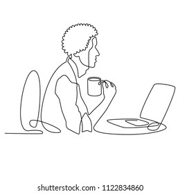 continuous line drawing of black designer or manager working behind computer with a cup of coffee, businessman character with afro haircut cartoon vector office worker african black one line style