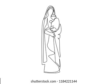 continuous line drawing of Blessed Virgin Mary Christianity vector illustration.