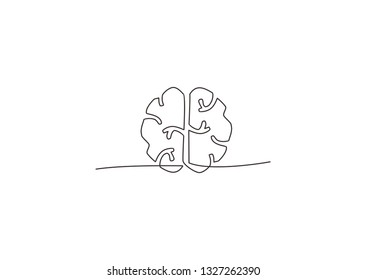 continuous line drawing of brain vector