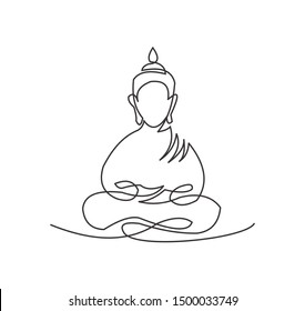 continuous line drawing of Buddha statue Buddhist character. Religious concept is a symbol of faith.Portrait of a prophet's face.