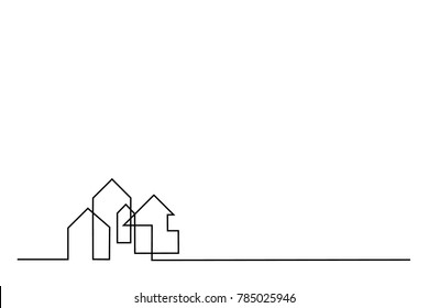 Continuous line drawing. Building Cityscape Line Art Silhouette. Vector illustration