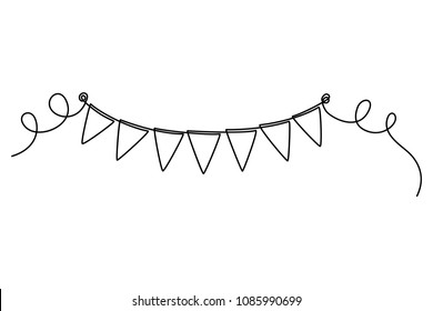 Continuous line drawing. Buntings garland. Party flags. Symbol of celebration. Black isolated on white background. Hand drawn vector illustration.
