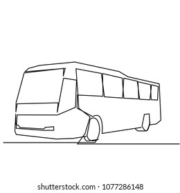 continuous line drawing of bus Vector illustration.