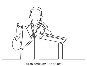 continuous line drawing of business coach talking before audience