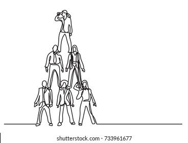 continuous line drawing of business concept - business team standing together