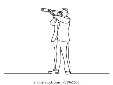 continuous line drawing of business concept - businessman looking in spyglass
