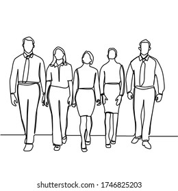 Continuous line drawing of business groups walking forward. Group of business men and women walking forward. Business team and teamwork concept isolated on white background.