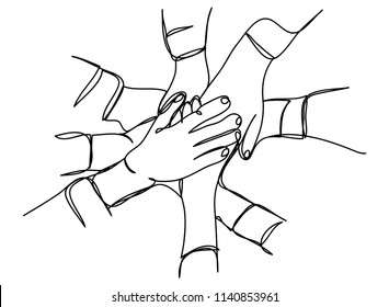 continuous line drawing of business people teamwork stacking hand together concept vector illustration