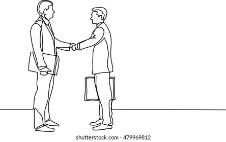 continuous line drawing of business people meeting handshake