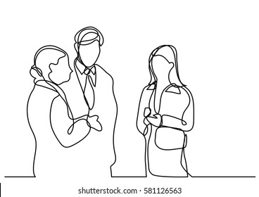 continuous line drawing of business people talking