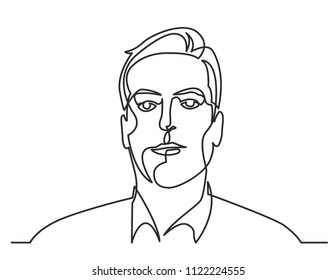 continuous line drawing of business person portrait on white background