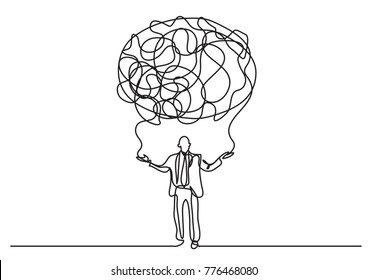 continuous line drawing of business person creating cloud of senses