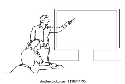 continuous line drawing of business presentation during team meeting
