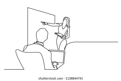 continuous line drawing of business presentation in meeting room