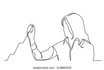 continuous line drawing of business presentation - business woman drawing increasing graph