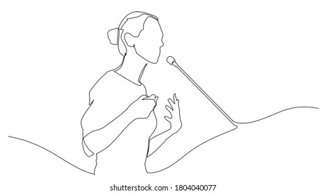Continuous line drawing business presentation woman trainer talking one single line drawn character politics speaker, business coach speaking before audience Political meeting speech.