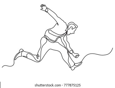 continuous line drawing of business situation - businessman running wild