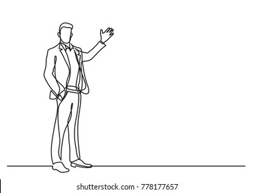 continuous line drawing of business situation - standing businessman making presentation