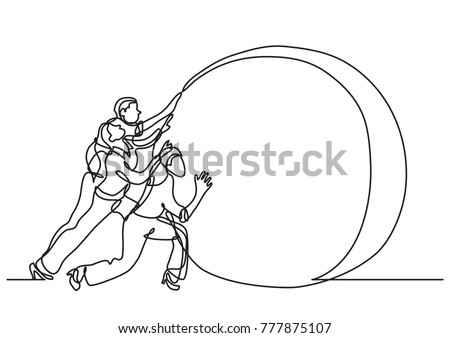 Continuous Line Drawing Business Situation Team Stock Vector