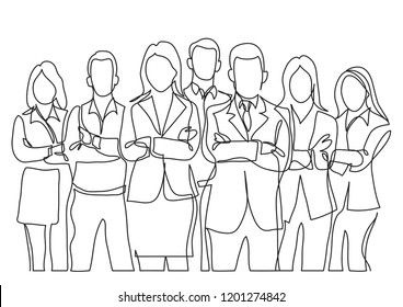 continuous line drawing of business team standing with crossed arms