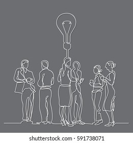continuous line drawing of business team discussion idea