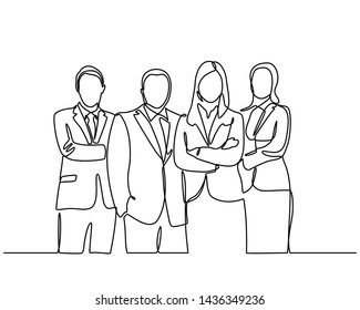 continuous line drawing of businessman and businesswoman standing. vector illustration isolated on white background. Vector template brochures, flyers, logo, print, banners. Vector