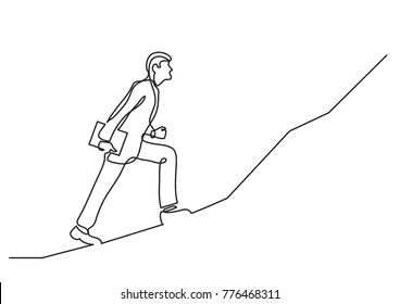 continuous line drawing of businessman climbing on steep scoop