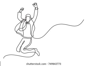 continuous line drawing of businessman jumping joy