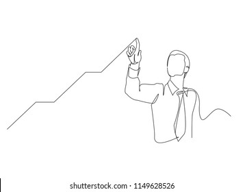Continuous line drawing of a businessman pointing to a line, arrow, concepts grow the business.
