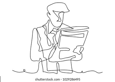 continuous line drawing of a businessman Reading newspaper business concept vector modern illustration