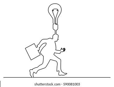 continuous line drawing of businessman running with brilliant idea