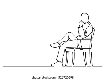 continuous line drawing of businessman sitting thinking