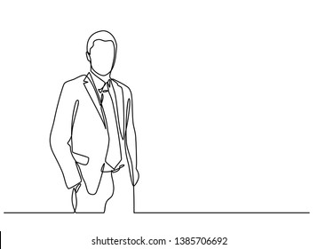 continuous line drawing of businessman standing. Isolated over white background