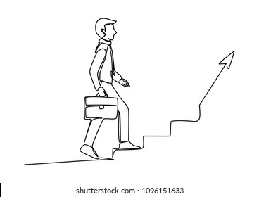 Continuous line drawing of businessman step up staircase with the arrrow pointing up for concept of progressions, start up, achievement and etc. Vector illustration
