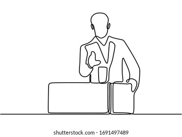 continuous line drawing of businessman talking in front of meeting participants. His speech inspired the meeting participants, vector illustration minimalism.