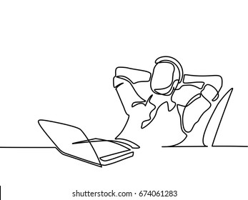 Continuous line drawing. Businessman thinking and dreaming with his laptop on white background. Vector illustration