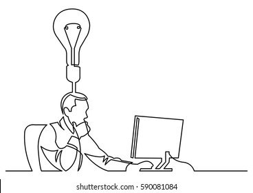 continuous line drawing of businessman working behind computer on idea