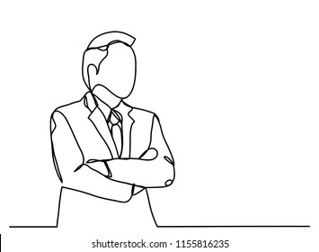 continuous line drawing of businessmen are thinking. About Economy Marketing.