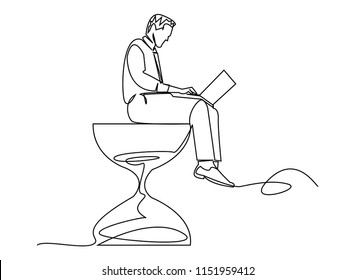 continuous line drawing of Businessmen working on the hourglass compete with time.