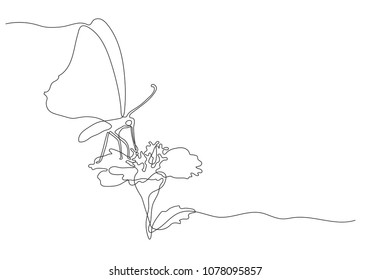 Continuous line drawing of butterfly and flower