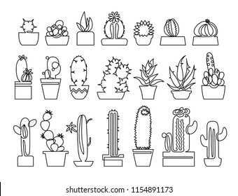 Continuous line drawing of Cactus and succulent icons set. Included the icons as plant, thorn, Aloe Vera, spike, flower, houseplants, decoration and more.