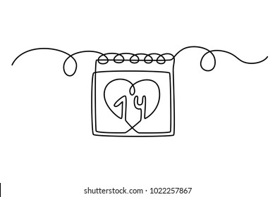 Continuous line drawing. A calendar with a heart around the date. 14th of February. Valentine's day. Template for  love cards. Isolated on white background. Hand drawn vector illustration.