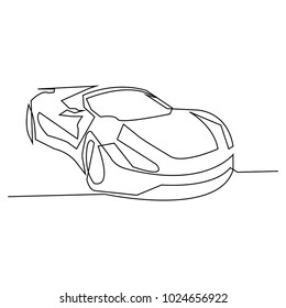 continuous line drawing of car vector